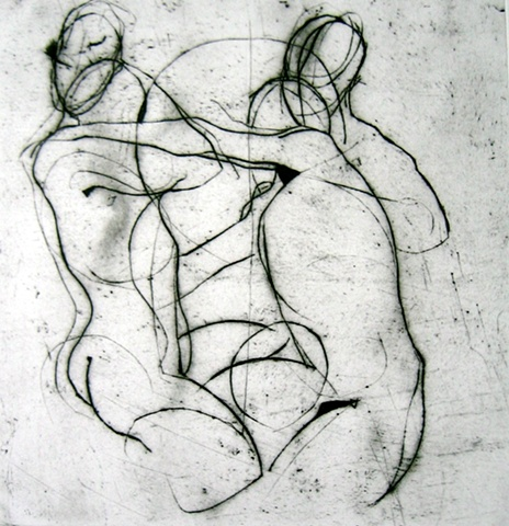 Kitty Blandy gestural drypoint print of two figures