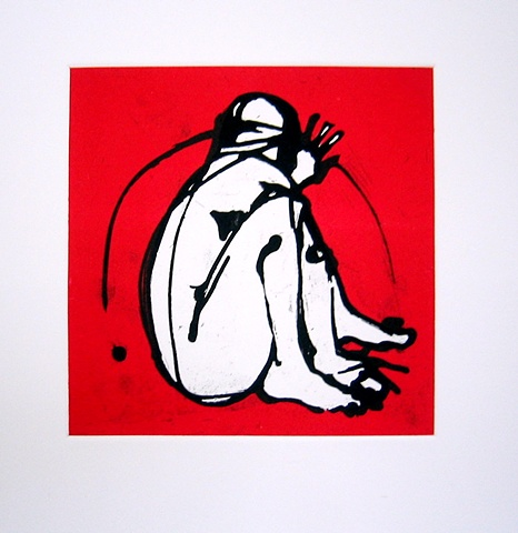 Kitty Blandy crouched figure with red background