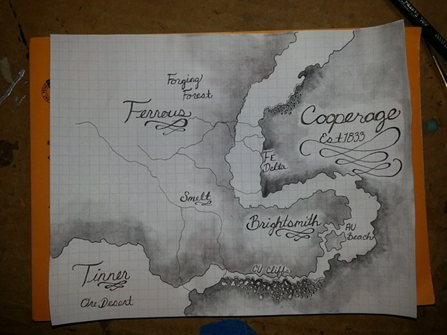 My fictional world Cooperage, Map, Crypto-zoology, Crypto zology, Journal, Mechanical, Insect, Bugs, Gears, Steampunk, Steam Punk by Lindsey Bessanson