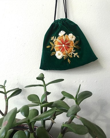 Green Velvet embroidery pouch