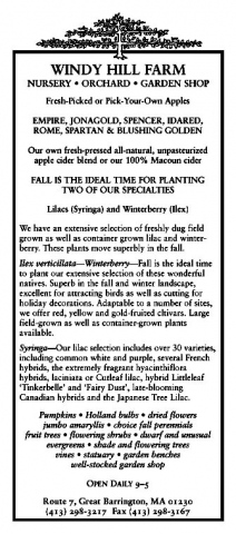Windy Hill Farm Ad, October 2004