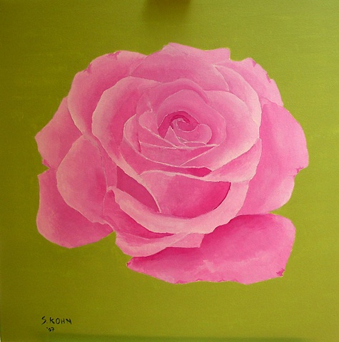 Pink Rose on Chartreuse