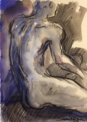 Male nude from back with purple