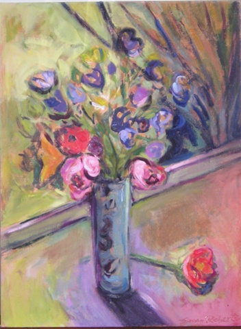 A Vase of Flowers on the Deck