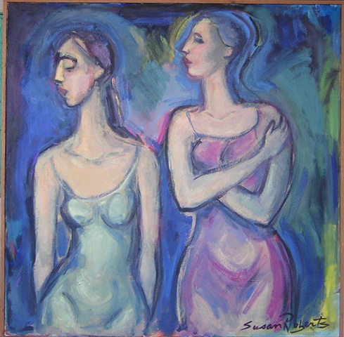 2 female figures in profile