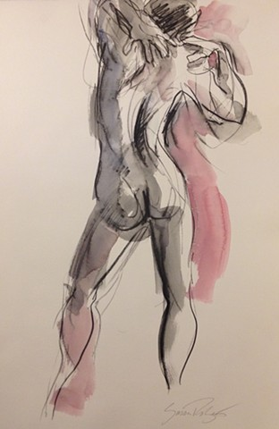 Male nude with hands on shoulders