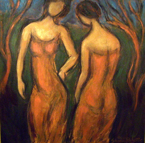 Two Young Women with Trees