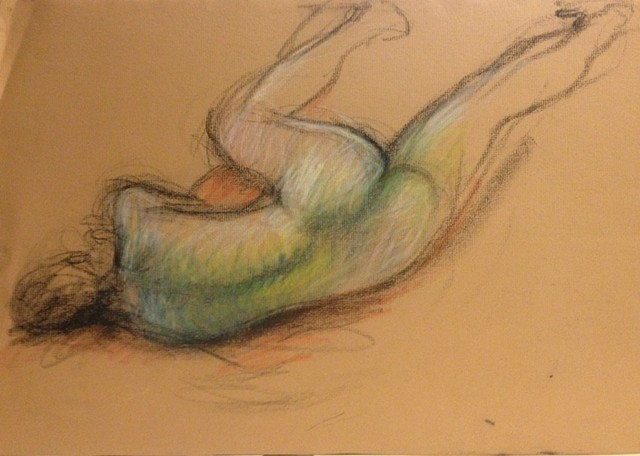 Female nude reclining with leg stretched
