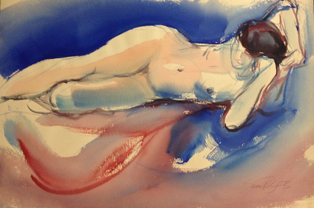 Reclining nude, frontal, with red and blue
