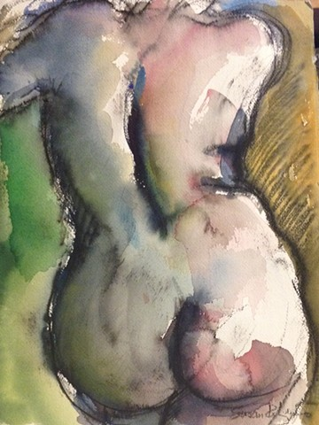 Rear torso in green and pink