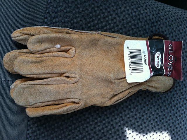 14. unused gloves from under the drives side seat