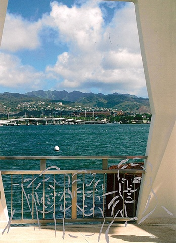 untitled (family trip) 1, view from the wreck of the U.S.S. Arizona in Pearl Harbor
