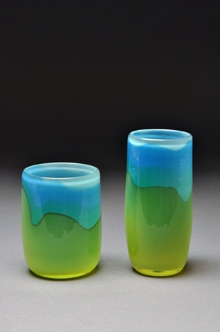 Hand Blown Rocks & Collins Pair