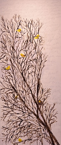Yellow Warblers in Plum Trees #4 (after Keat's Ode to a Nightingale)