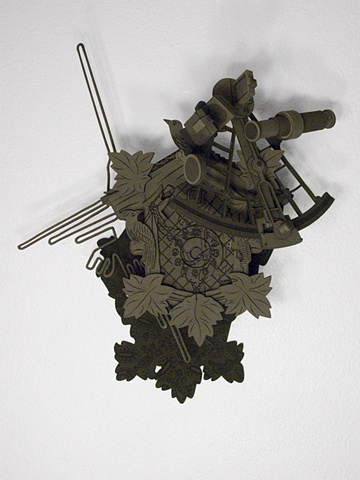 """In the Potteries""; cuckoo clock, sextant, Nazca line, constellation of Orion and black on black paisley shadow"