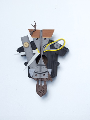 Frankenstein's Monster #3; cuckoo clock and bidrhouse with tools
