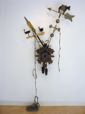 """By the Pricking of My Two Thumbs…"" cuckoo clock, Lance of Longinus, sotdae, weathervane, and barbed wire"