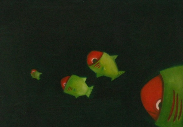 green and red fish