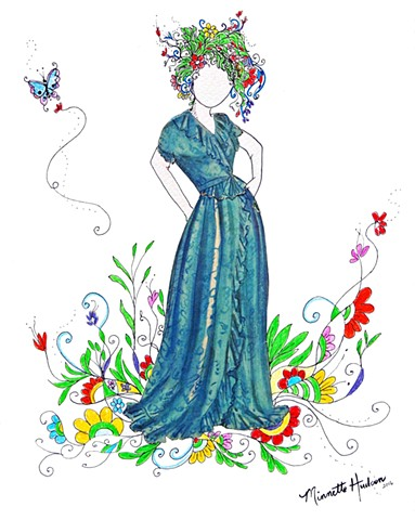 Clip Art Colored Drawings Of Vintage Womens Fashion