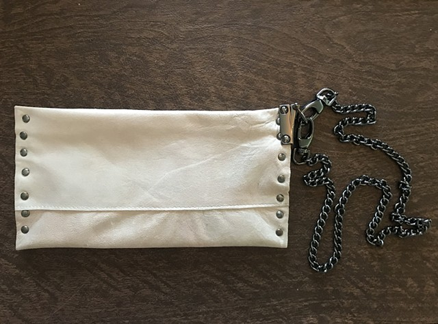 Veranda Couture Cream Italian Leather Wristlet, Italian Skins