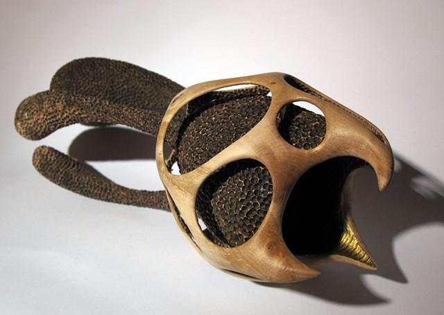 abstract wood hawthorn sculpture art gold vessel