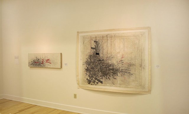 Installation view of works in the exhibition Art Forms at the Hartford Constitution Plaza gallery. The two works are Hyper-Retaliation& (left) and Lucky Fiction(right).