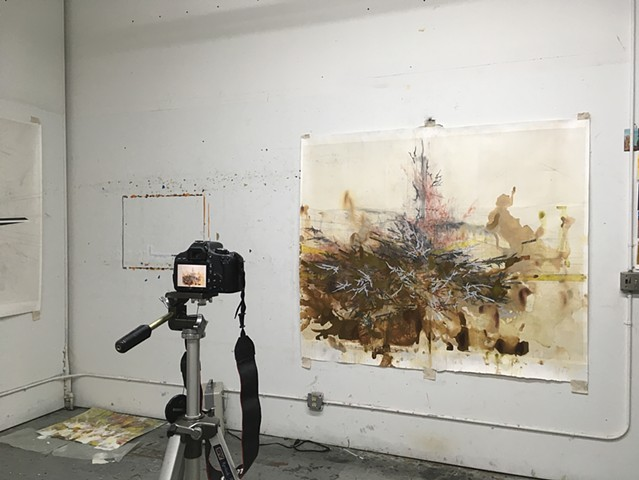 Studio view of work in progress and camera. February 2019