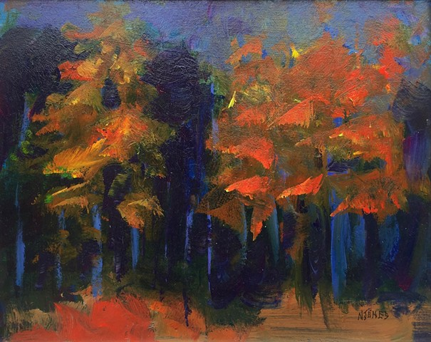 Grants' Woods: In Blue and Red