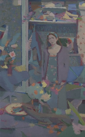 "Garden oil on canvas 10 1/2"" x 6 1/2"""