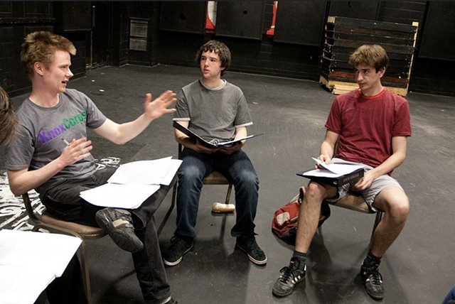 Director Isaac Miller with actors Michael Snow-Cobb and Mitch Wise, in rehearsal for the April 12 and 13, 2013 readings at Knox College. Photo by Peter Bailey.