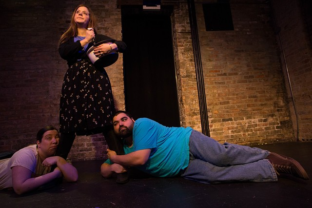 "Jennifer A. Ryder, Rosie O'Leary, and Anthony Urso in ""...Because I Love You: A Comedy About Parenting"" at Gorilla Tango. Photo by Tony Duvall."