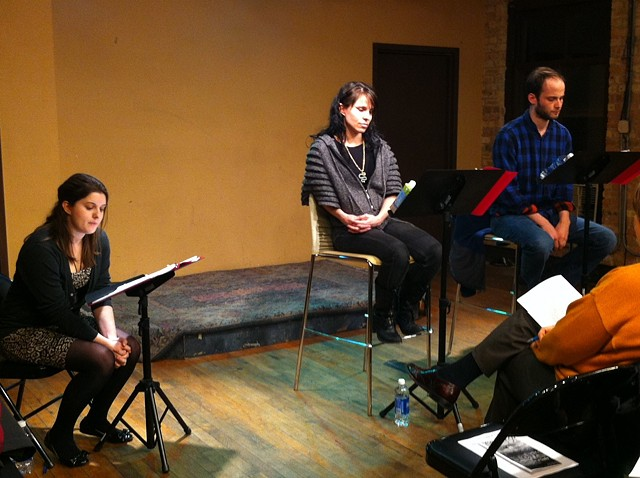 Director Mallory Primm, Cat Dugan, and Ed Porter in the March 26, 2012 reading. Photo by Rich Seidelman.