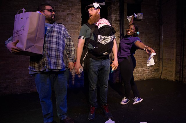 "Anthony Urso, Jeff Derrico, and Gabrielle Lott-Rogers in ""...Because I Love You: A Comedy About Parenting% at Gorilla Tango. Photo by Tony Duvall."