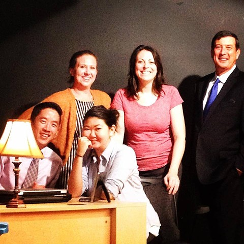 "Jenn Remke, Katie Braden, Kurt Grube, Eric Elizaga, and Diane Chen in ""Outside/Inside"" at Ivy Theatre Company."