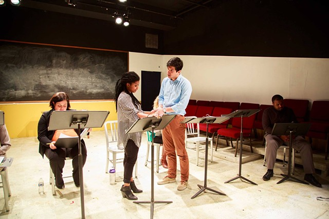 "Jen Bosworth, Demetra Dee, David Ibarra, and Anthony Conway in ""The Candidate"" at Eclectic Full Contact. Photo by Katie Hunter."