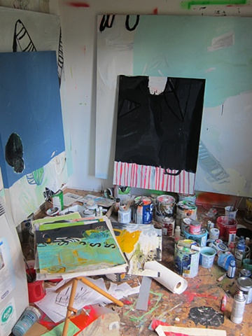 in the studio, July