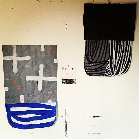 "studioshot...new pieces, mixed media on canvas and paper, approx 30""x20"""
