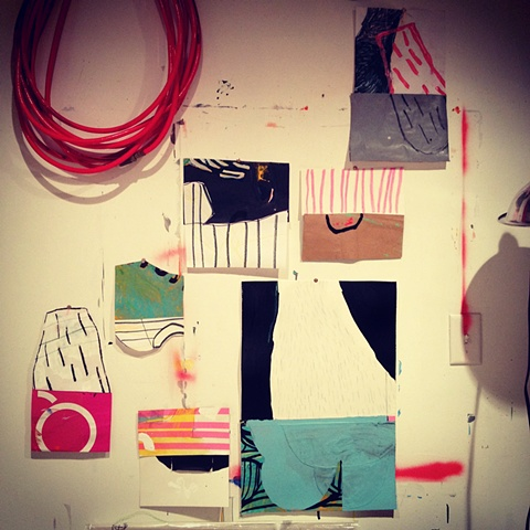 Studio Wall Collage, works on paper