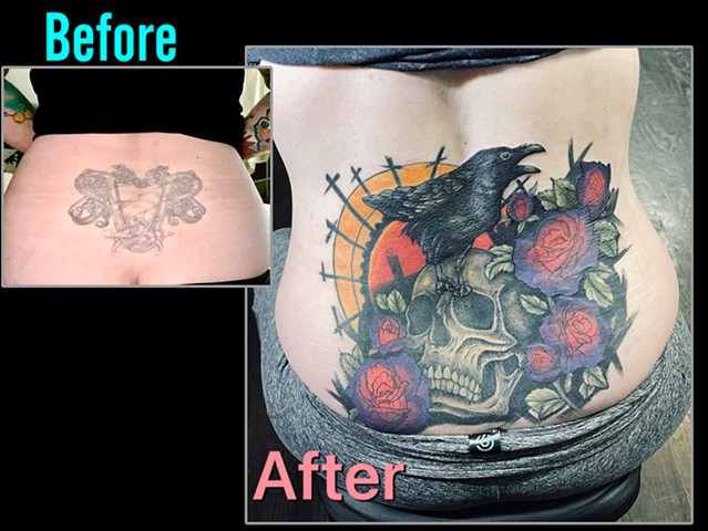 Skull and crow cover up