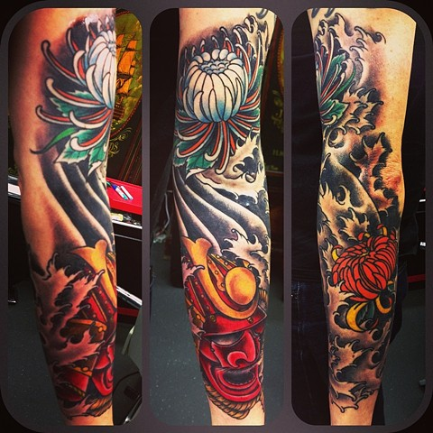 a japanese samurai mask, chrysanthemum and water tattoo sleeve by vincent. vincentiusmaximus