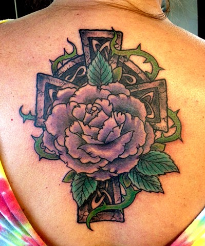 an old school, traditional celtic cross with rose tattoo by vincent. vincentiusmaximus