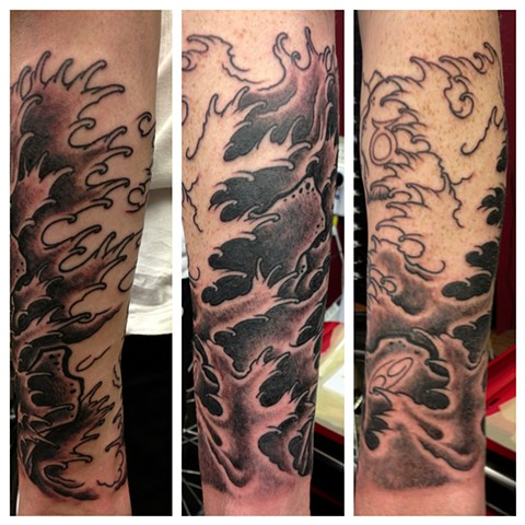 japanese water sleeve in progress by vincent. vincentiusmaximus