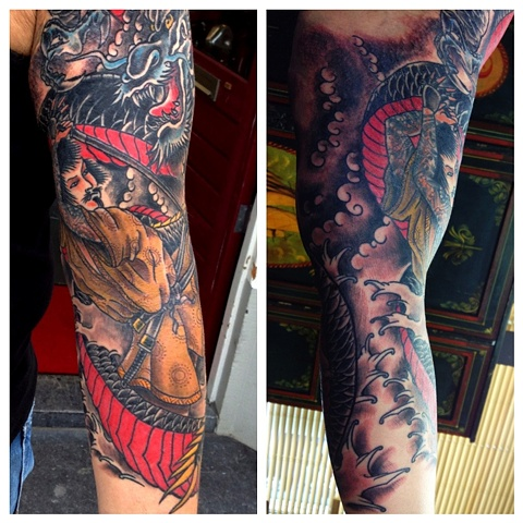 Dragon/Samurai sleeve finished