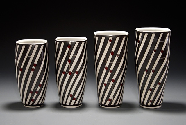 """Black Pattern Vase"" Grouping"
