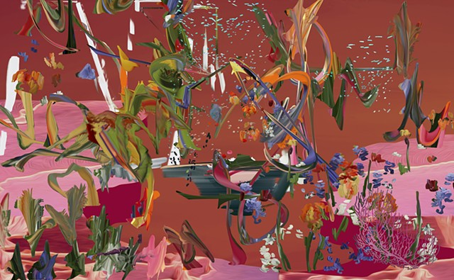 Petra Cortright reflecting pool salmonish_flowery