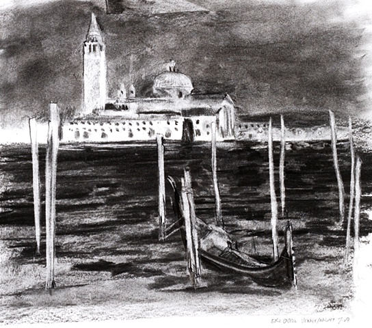 Venice at Night, Grand Canal, charcoal, 2009