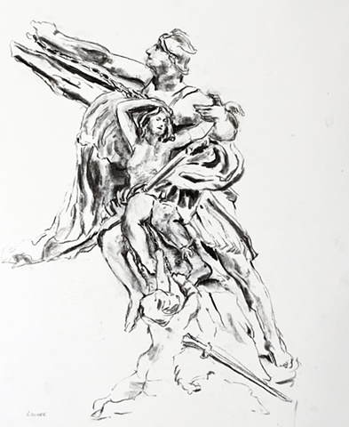 Louvre, Statue, charcoal, 2010