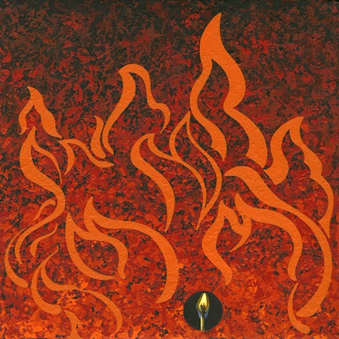 Beacon painting Paul Flippen fire abstraction match flame