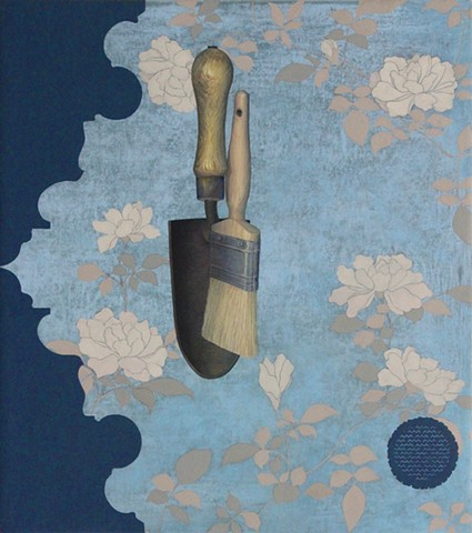 Dredging The Canal painting Paul Flippen floral abstraction still life trowel brush