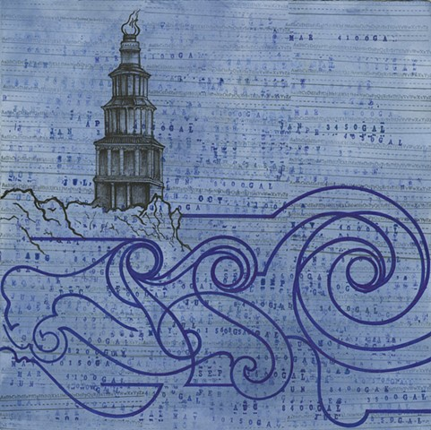 Pharos drawing Paul Flippen water abstraction lighthouse